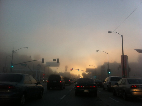 03/13/2013: The morning commute.  The sun was rising over the breaking fog,