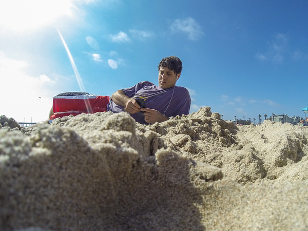 05/25/2013:<br /> First few photos taken with the new GoPro camera.  Sam lounging at the beach.