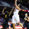 01/26/2013:<br /> Kiki Alofaituli, sophmore guard for the Women of Troy, puts up a layup against Arizona State.