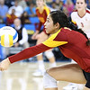 "01/19/2013:<br /> Samantha Bricio on the Women of Troy volleyball team digs a ball during the game vs UCLA in November.  I saw that I hadn't posted this set on FB yet, but here's the link to the gallery on Photorath  <a href=""http://smu.gs/WtDHPv"">http://smu.gs/WtDHPv</a>)"