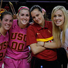 WBKvUA_022312_Kondrath_2345<br /> <br /> 2/24/12<br /> Post game, the Women of Troy celebrate a victory over the Wildcats.