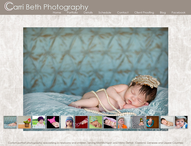 "<p class=""ContentText""> Carri Beth Photography –  Michigan photographer specializes in baby and children photography<br><br> SmugMug Customization  -  By jR Customization </p>  <p class=""ContentSubHeader""> <a href=""http://carribethphotography.smugmug.com/"" target=""_blank"" >Carri Beth Photography</a> </p>  <p class=""ContentText""> - Michigan Photographer<br> - Specializes baby and children photography<br> - Web site is at <a href=""http://carribethphotography.smugmug.com/"" target=""_blank"" >Carri Beth Photography</a><br> - Entire Web Site Hosted via Smugmug<br>  </p>"