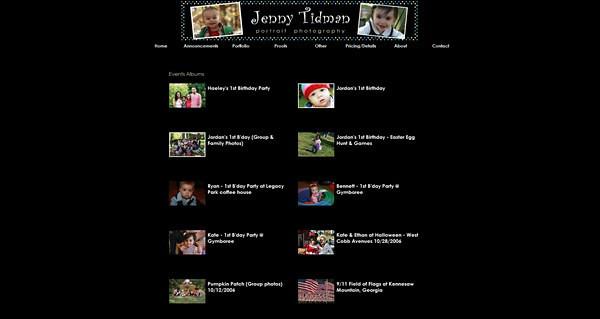 "<p class=""ContentSubHeader""> <a href=""http://www.jennytidman.com"" target=""_blank"" onClick=""javascript: pageTracker._trackPageview('/outgoing/jennytidman.com');"">Jenny Tidman Portrait Photography</a> </p> <p class=""ContentText""> - Atlanta Georgia Children Portraits, Events and Pets Photographer<br> - Specializes Children Portraits, Events and Pets Photography<br> - Web site is at <a href=""http://www.jennytidman.com"" target=""_blank"" onClick=""javascript: pageTracker._trackPageview('/outgoing/jennytidman.com');"">Jenny Tidman Portrait Photography</a><br> - Entire Web Site Hosted via Smugmug<br> </p>"