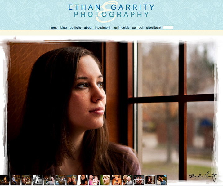 "Ethan Garrity Photography  – Northern Michigan Photographer specializes in portraits and weddings! <br><br> SmugMug Customization and Wordpress Design- By jR Customization   <p class=""ContentText""> <br><br> - Web site is at"