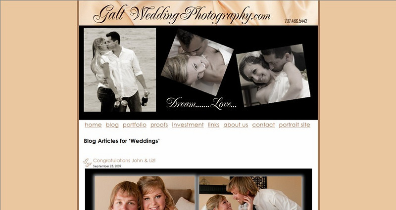 """<p class=""""ContentSubHeader""""> <a href=""""http://galtweddingphotography.com"""" target=""""_blank"""" onClick=""""javascript: pageTracker._trackPageview('/outgoing/galtweddingphotography.com');"""">Galt Wedding Photography</a> </p> <p class=""""ContentText""""> - Santa Rosa California Wedding Photographer<br> - Specializes in Wedding Photography<br> - Client Galleries Hosted via Smugmug<br> - Blog hosted via wordpress<br> - Smugmug site integrated within the wordpress - same design<br> - Web Site at <a href=""""http://galtweddingphotography.com"""" target=""""_blank"""" onClick=""""javascript: pageTracker._trackPageview('/outgoing/galtweddingphotography.com');"""">www.galtweddingphotography.com</a><br> - Home page video created using Animoto </p>"""