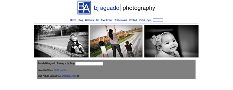 "BJ Aguado Photography – Photographer specializes in children, pet, engagement and more! <br><br> SmugMug Customization & WordPress Integration- By jR Customization   <p class=""ContentText""> <br><br> - Web site is at <a href= ""http://www.bjaguadophotography.com/"" target=""_blank"" onClick=""javascript: pageTracker._trackPageview('/outgoing/  http://www.bjaguadophotography.com/');"">bjaguadophotography.com</a><br> - Entire Web Site Hosted via Smugmug<br>  </p>"