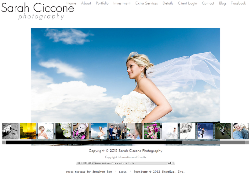 "<p class=""ContentText""> Sarah Ciccone Photography – Minnesota photographer specializes in portrait, wedding and engagement photography <br><br> SmugMug Customization - By jR Customization </p>  <p class=""ContentSubHeader""> <a href="" http://sarahcicconephotography.smugmug.com/"" target=""_blank"" onClick=""javascript: pageTracker._trackPageview('/outgoing/ http://sarahcicconephotography.smugmug.com/);"">Sarah Ciccone Photography</a> </p>  <p class=""ContentText""> - Minnesota photographer<br> - Specializes in portrait, wedding and engagement photography<br> - Web site is at <a href="" http://sarahcicconephotography.smugmug.com/"" target=""_blank"" onClick=""javascript: pageTracker._trackPageview('/outgoing/ http://sarahcicconephotography.smugmug.com/);"">Sarah Ciccone Photography</a><br> - Entire Web Site Hosted via Smugmug<br>  </p>  </p>"