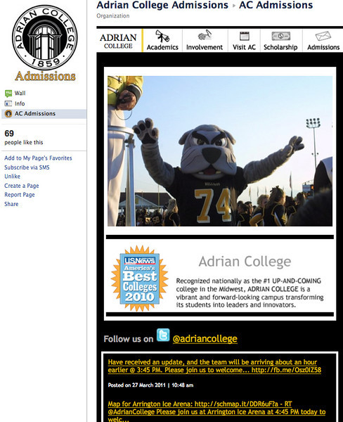 "Facebook Fan Page: Adrian College Admissions <a href=""http://www.facebook.com/#!/ACadmissions?sk=app_119983818077429"" target=""_blank"">Adrian College Admissions</a>  Customized facebook fan page with : - specific market branding - content pages updated from your WordPress content pages - visit Adrian College form - tweets from your twitter account"
