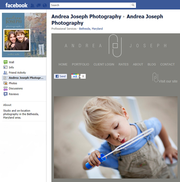 "<p class=""ContentText""> Andrea Joseph Photography – Maryland photographer specializes in portrait and event photography<br><br> SmugMug Customization and WordPress Integration- By jR Customization </p>  <p class=""ContentSubHeader""> <a href="" http://www.andreajosephphotography.com/"" target=""_blank"" onClick=""javascript: pageTracker._trackPageview('/outgoing/ http://www.andreajosephphotography.com/);"">Andrea Joseph Photography</a> </p>  <p class=""ContentText""> - Maryland photographer<br> - Specializes in portrait and event photography<br> - Web site is at <a href="" http://www.andreajosephphotography.com/"" target=""_blank"" onClick=""javascript: pageTracker._trackPageview('/outgoing/ http://www.andreajosephphotography.com/);"">Andrea Joseph Photography</a><br> - Entire Web Site Hosted via Smugmug<br>  <br> - Facebook Fan page  is at <a href=""http://www.facebook.com/#!/pages/Andrea-Joseph-Photography/377379482455"" target=""_blank"" onClick=""javascript: pageTracker._trackPageview('/outgoing/http://www.facebook.com/#!/pages/Andrea-Joseph-Photography/377379482455');"">Andrea Joseph Photography</a><br>  </p>  </p>"