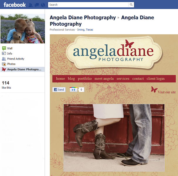 """<p class=""""ContentText""""> Angela Diane Photography – Texas photographer specializes in portrait and wildlife photography<br><br> SmugMug Customization,  Wordpress Integration and Facebook Fan page Customization  -  By jR Customization </p>  <p class=""""ContentSubHeader""""> <a href=""""http://angeladianephotography.smugmug.com/"""" target=""""_blank"""" onClick=""""javascript: pageTracker._trackPageview('/outgoing/http://angeladianephotography.smugmug.com/);"""">Angela Diane Photography</a> </p>  <p class=""""ContentText""""> - Texas Photographer <br> - Specializes in portrait and wildlife photography<br> - Web site is at <a href=""""http://angeladianephotography.smugmug.com/"""" target=""""_blank"""" onClick=""""javascript: pageTracker._trackPageview('/outgoing/http://angeladianephotography.smugmug.com/);"""">Angela Diane Photography</a><br> - Entire Web Site Hosted via Smugmug<br> <br> - Facebook Fan Page  is at <a href=""""http://www.facebook.com/pages/Angela-Diane-Photography/159569150772400"""" target=""""_blank"""" onClick=""""javascript: pageTracker._trackPageview('/outgoing/http://www.facebook.com/pages/Angela-Diane-Photography/159569150772400');"""">Angela Diane Photography</a>  </p>"""