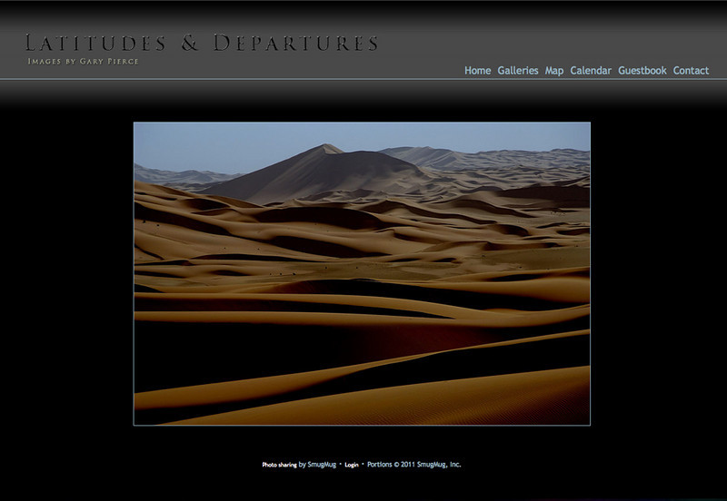 "Latitudes & Departures - Photographer specializes in travel and wildlife all over the world! SmugMug Customization - By jR Customization   <p class=""ContentText""> <br><br> - Web site is at <a href=""http://www.gcpierce.com"" target=""_blank"" onClick=""javascript: pageTracker._trackPageview('/outgoing/gcpierce.com');"">Latitudes & Departures</a><br> - Entire Web Site Hosted via Smugmug<br>  </p>"