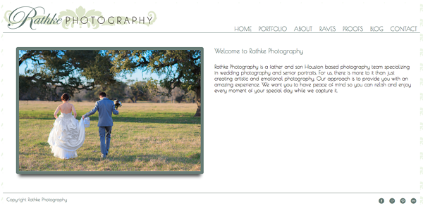 "Rathke Photography from Texas<br /> Specializes in Wedding Photography,Portrait Photography,Senior Photography,<br /> Web Site can be found at : <a href=""http://www.rathkephotography.com/"">http://www.rathkephotography.com/</a><br /> SmugMug Customization Wordpress Theme, by jR Customization"