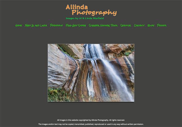 "Allinda Photography  from Virginia<br /> Specializes in Landscape and Nature Photography<br /> Web Site can be found at : <a href=""http://www.allindaphoto.com/"">http://www.allindaphoto.com/</a><br /> SmugMug Customization  by jR Customization"