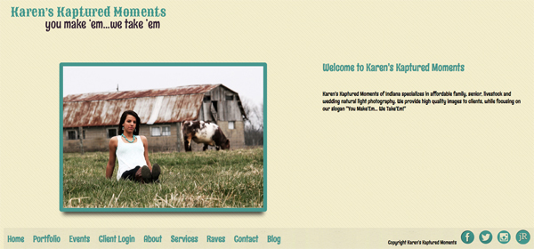 """Karens Kaptured Moments from Indiana<br /> Specializes in Wedding Photography, Event Photography, Portrait Photography Rural Photography and Senior Photography<br /> Web Site can be found at : <a href=""""http://www.karenskapturedmoments.com/"""">http://www.karenskapturedmoments.com/</a><br /> SmugMug Customization Wordpress Theme, by jR Customization"""