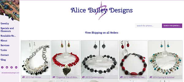 "Alice Bailey Designs from New Mexico<br /> Specializes in Fine Customize Jewelry<br /> Web Site can be found at: <a href=""http://www.alicebaileydesigns.com/"">http://www.alicebaileydesigns.com/</a><br /> SmugMug Customization by jR Customization"