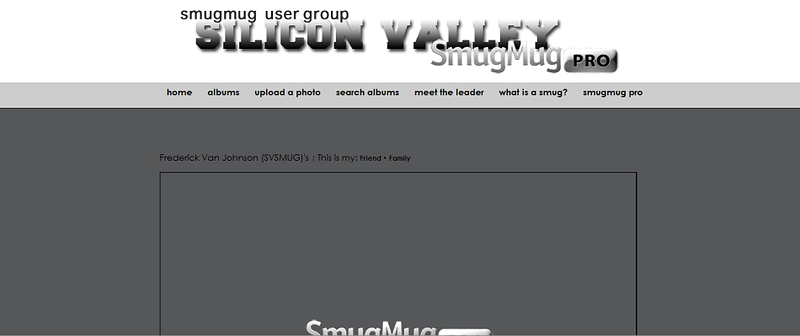 """Silicon Valley SmugMug User Group  - by jR Customization   <p class=""""ContentText""""> <br><br> - Web site is at <a href=""""http://svsmug.smugmug.com/"""" target=""""_blank"""" onClick=""""javascript: pageTracker._trackPageview('/outgoing/svsmug.smugmug.com');"""">Silicon Valley SmugMug User Group</a><br> - Entire Web Site Hosted via Smugmug<br>  </p>"""