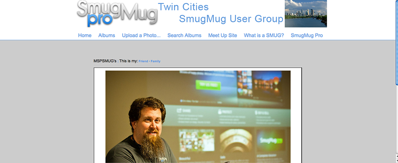 "Twin Cities SmugMug User Group  - by jR Customization   <p class=""ContentText""> <br><br> - Web site is at <a href=""http://www.mspsmug.smugmug.com"" target=""_blank"" onClick=""javascript: pageTracker._trackPageview('/outgoing/mspsmug.smugmug.com');"">Twin Cities SmugMug User Group</a><br> - Entire Web Site Hosted via Smugmug<br>  </p>"
