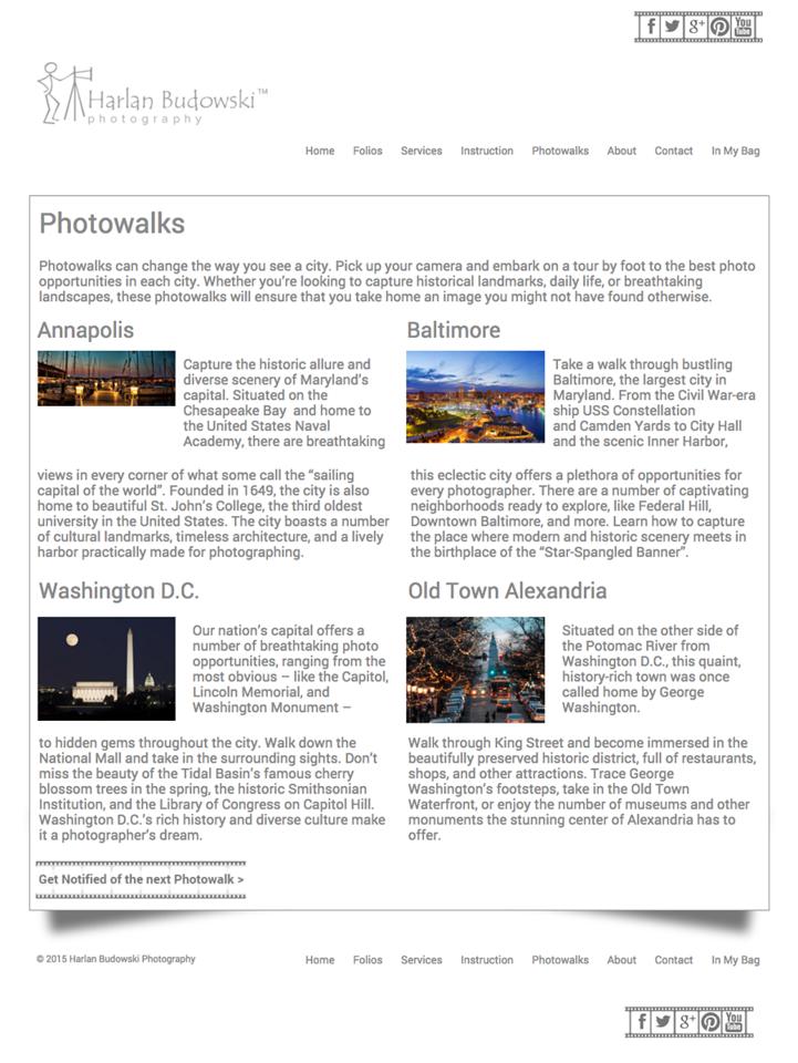 Page Design  - Double Column - Photowalks