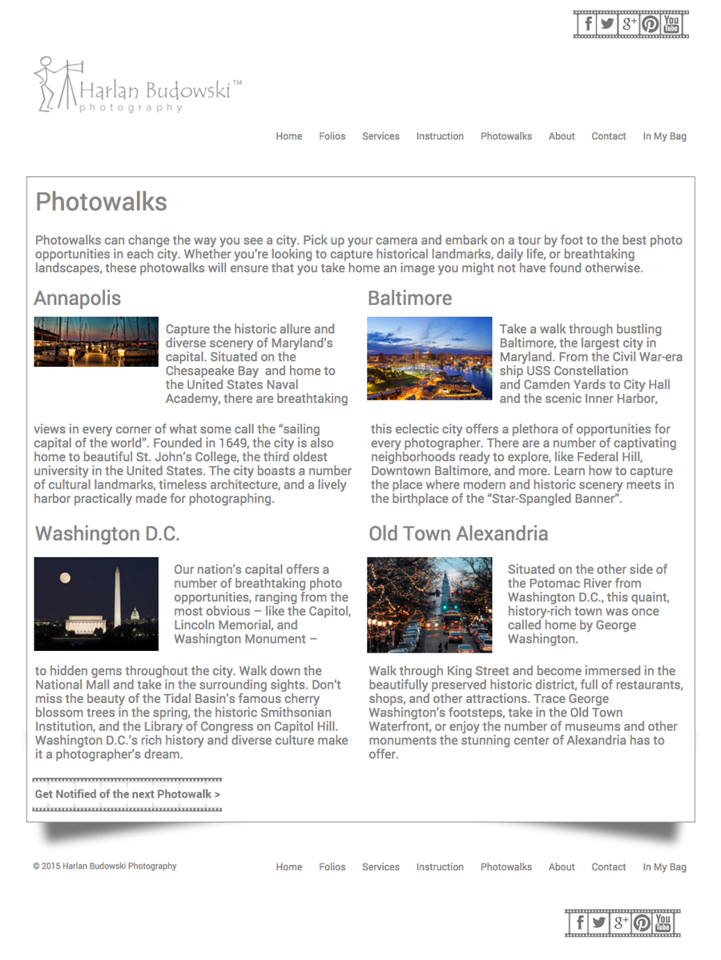 Page Design  - Double Column - Photowalks