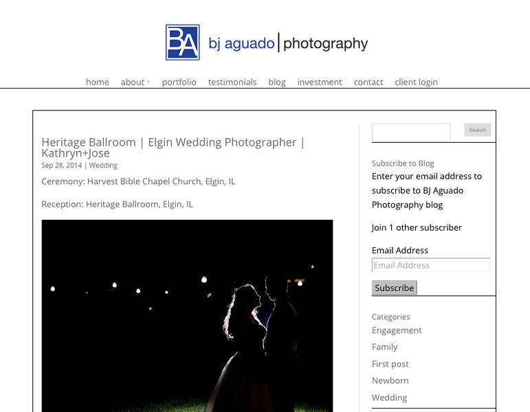 "BJ Aguado Photography from Chicago<br /> Specializes in Weddings, Engagements and Portrait Photography<br /> Web Site can be found at: <a href=""http://www.bjaguadophotography.com/"">http://www.bjaguadophotography.com/</a><br /> SmugMug Customization by jR Customization<br /> Wordpress Theme Customization by jR Customization"