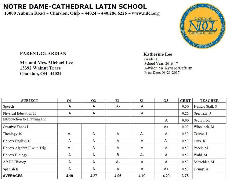Katie - Notre Dame High School Sophmore