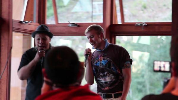 Ray and Cheston sing karaoke