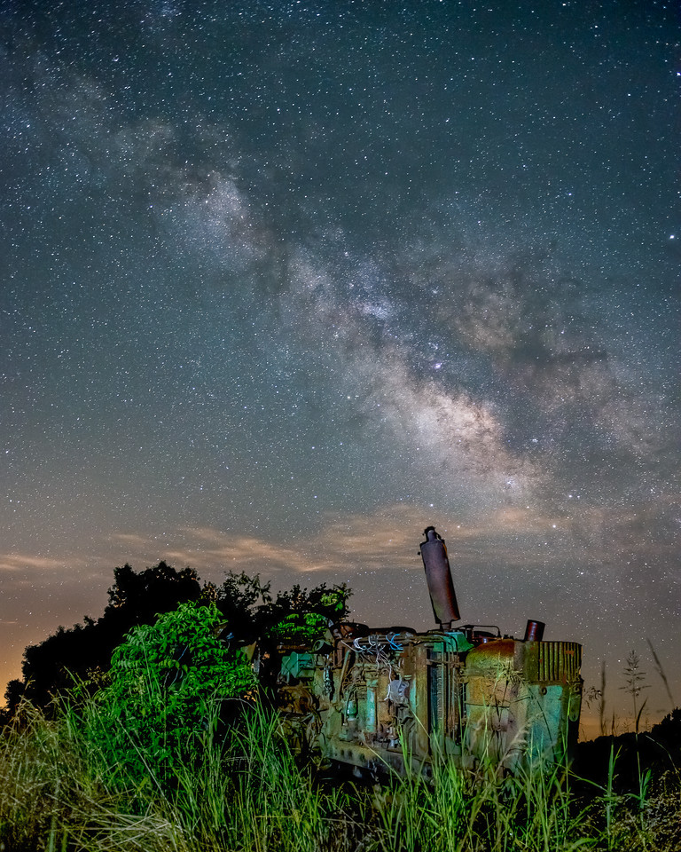Milky Way Over Old Tractor