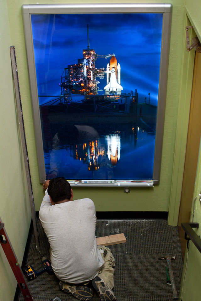 Trey Ratcliff's wonderful Final Night of the Space Shuttle getting mounted in a big lightbox