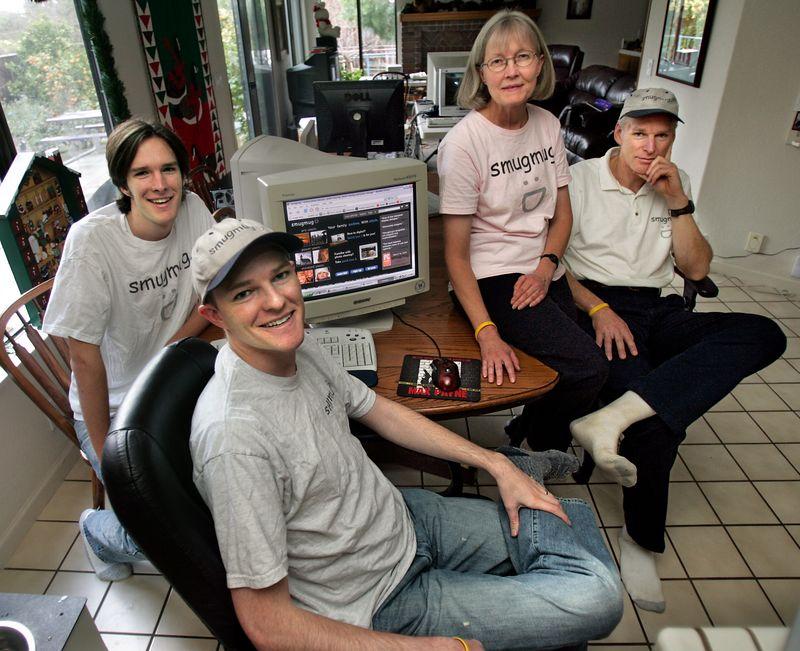 SmugMug family.  Shot taken by the San Francisco Chronicle.  Ben, Don, Toni, and Chris.