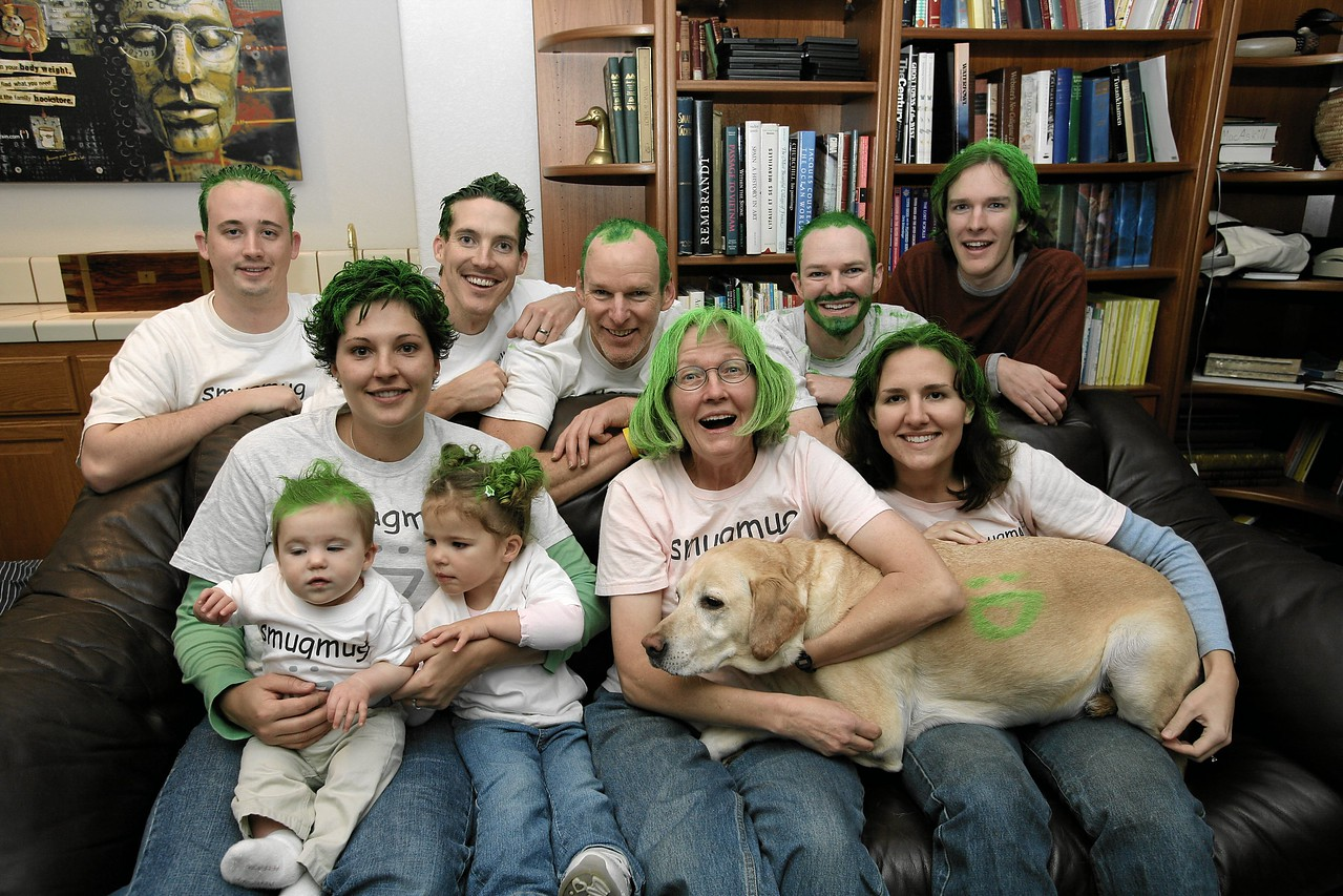 SmugMug team celebrating a company milestone by dying our hair green.