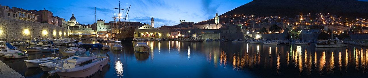 Dubrovnik's old walled city at night.