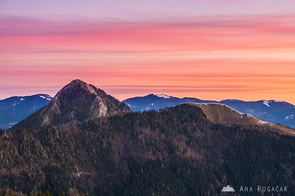 Before the sunrise on Kranjska Reber - Mts. Veliki Rogatec and Lepenatka against the pink sky