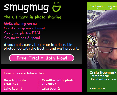 smugmug home page