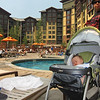 Hal enjoying the pool of the Grand Summit Hotel, at The Canyons, Park City Utah