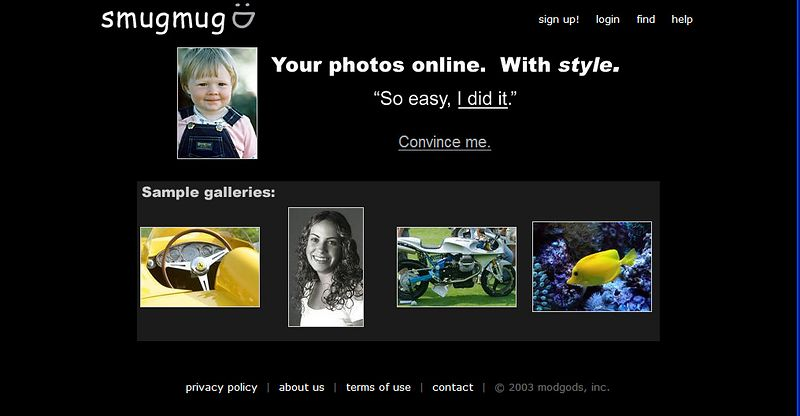 December 20, 2002.  Our beta testers overwhelmingly told us that our key features were Style and Ease-of-Use.   We decided to make these more obvious right on the homepage.  smugmug has been selling accounts for roughly 3 weeks by this point, and quickly picking up steam.