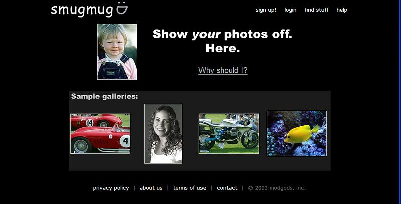 October 8, 2002.  The complete lack of design on the homepage got too painful to bear, so we switched it.  Smugmug is now in beta testing, but isn't yet live to the world, or accepting paid signups.