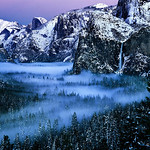 "Yosemite on a magical, mystical winter morning.<br /> <br /> I have always wanted to capture the magnificence of Yosemite Valley covered with a dusting of first snow.  So I set up a weather alarm for myself.  I got a ""snow alert"" one Friday morning at 3:00am, drove out to Yosemite at the crack of dawn, and was rewarded with this picture.  Enjoy."
