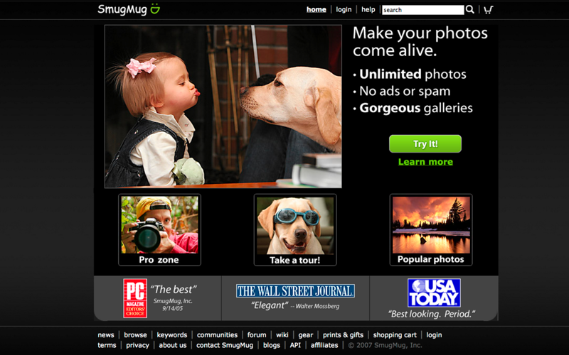 Finally found a photo better than the haircut.  That's my dog, Jedi, contemplating a kiss from one of our earliest employees' daughters.  Priceless.  Big jump in trials, too.  Circa early 2007.  This homepage, and various variants much like it, was our homepage until the middle of 2010.  We changed the wording & content, except the hero shot, many times.