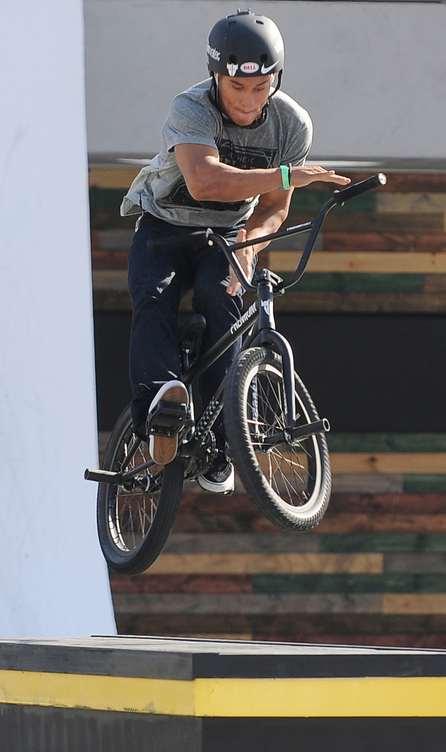 . Chad Kerley on his way to a gold medal during the BMX Street finals at L.A. Live in Los Angeles, CA. 8/3/2013(John McCoy/LA Daily News)