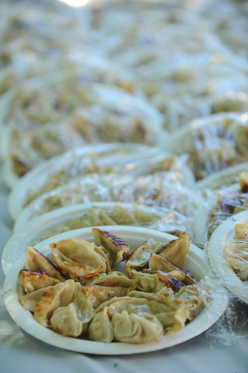 . Plates of pot stickers wait in the wings. The World Gyoza Eating Contest took place as part of the annual Nisei Week Foundation festival. Matt Stonie of San Jose ended up setting a new world record by eating 268 pot stickers, edging out last years winner Joey Chestnut who ate 251. Los Angeles, CA. 8/17/2013(John McCoy/LA Daily News)