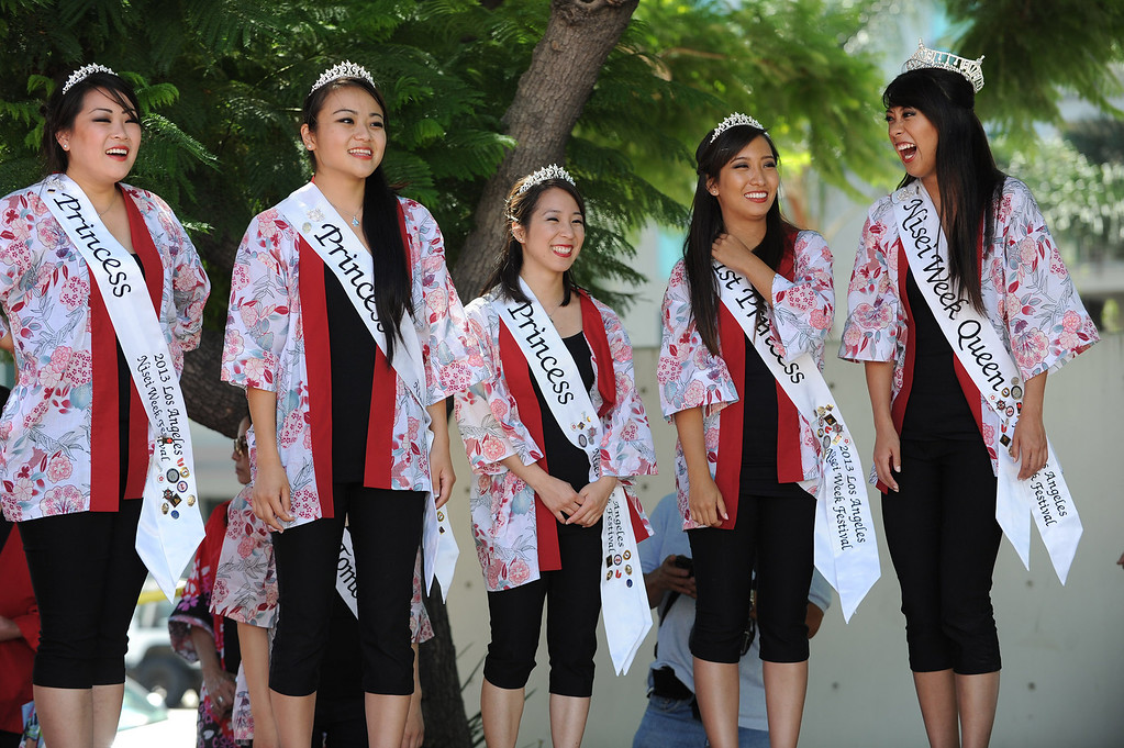 . Nisei Week royalty stands by. The World Gyoza Eating Contest is taking place as part of the annual Nisei Week Foundation festival. Matt Stonie of San Jose ended up setting a new world record by eating 268 pot stickers, edging out last years winner Joey Chestnut who ate 251. Los Angeles, CA. 8/17/2013(John McCoy/LA Daily News)