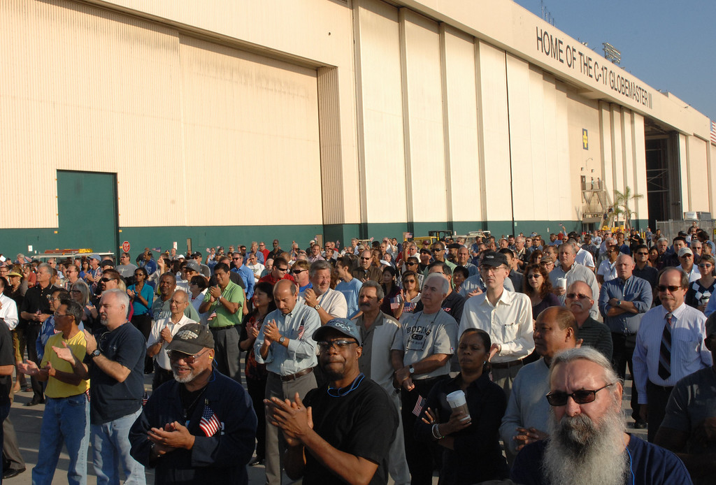 . 9/12/13 - Boeing employees gathered as the company delivered the last U.S. Air Force C-17 Globemaster III, fulfilling the production contract, on Thursday morning. (Photo by Brittany Murray/Press Telegram)