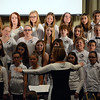 Pennridge North Middle School Chorus Director, Diane King lead the choir with Patriotic songs. Photo by Debby High