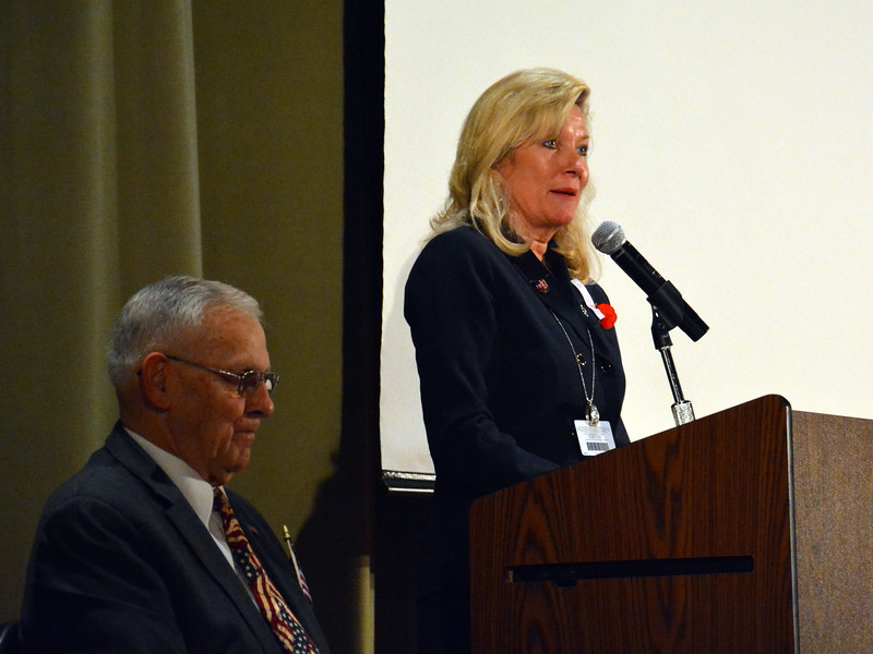 Jacqueline Rattigan, Pennridge School District Superintendent gave some opening statements honoring Veteran's Day. Photo by Debby High