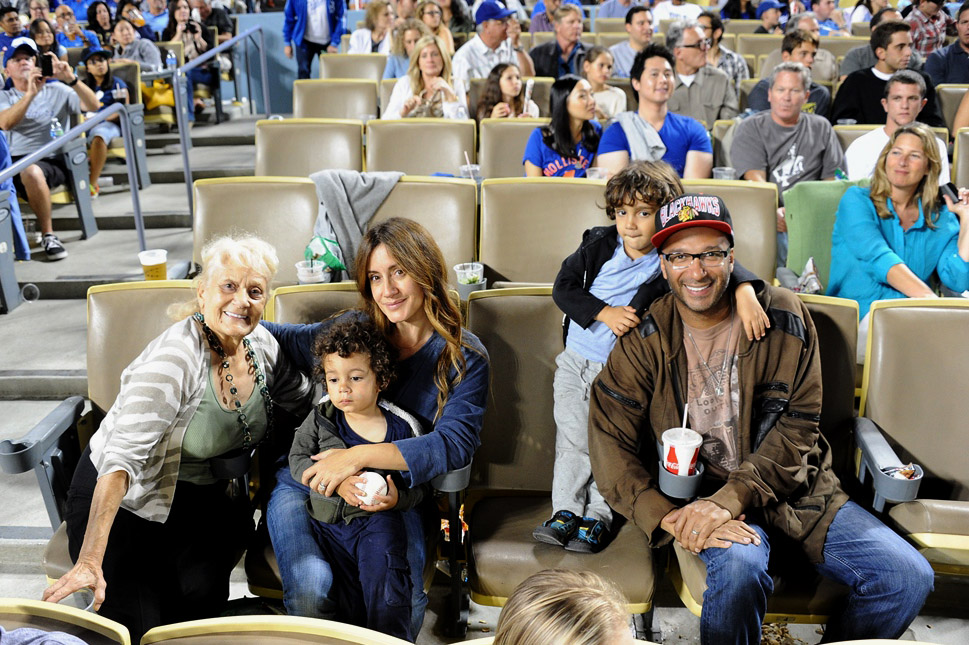 . In this handout photo provided by the Los Angeles Dodgers, Tom Morello attends the Cincinnatti Reds versus Los Angeles Dodgers game at Dodger Stadium on July 26, 2013 in Los Angeles, California.  (Photo by Jon Soohoo/Los Angeles Dodgers via Getty Images)