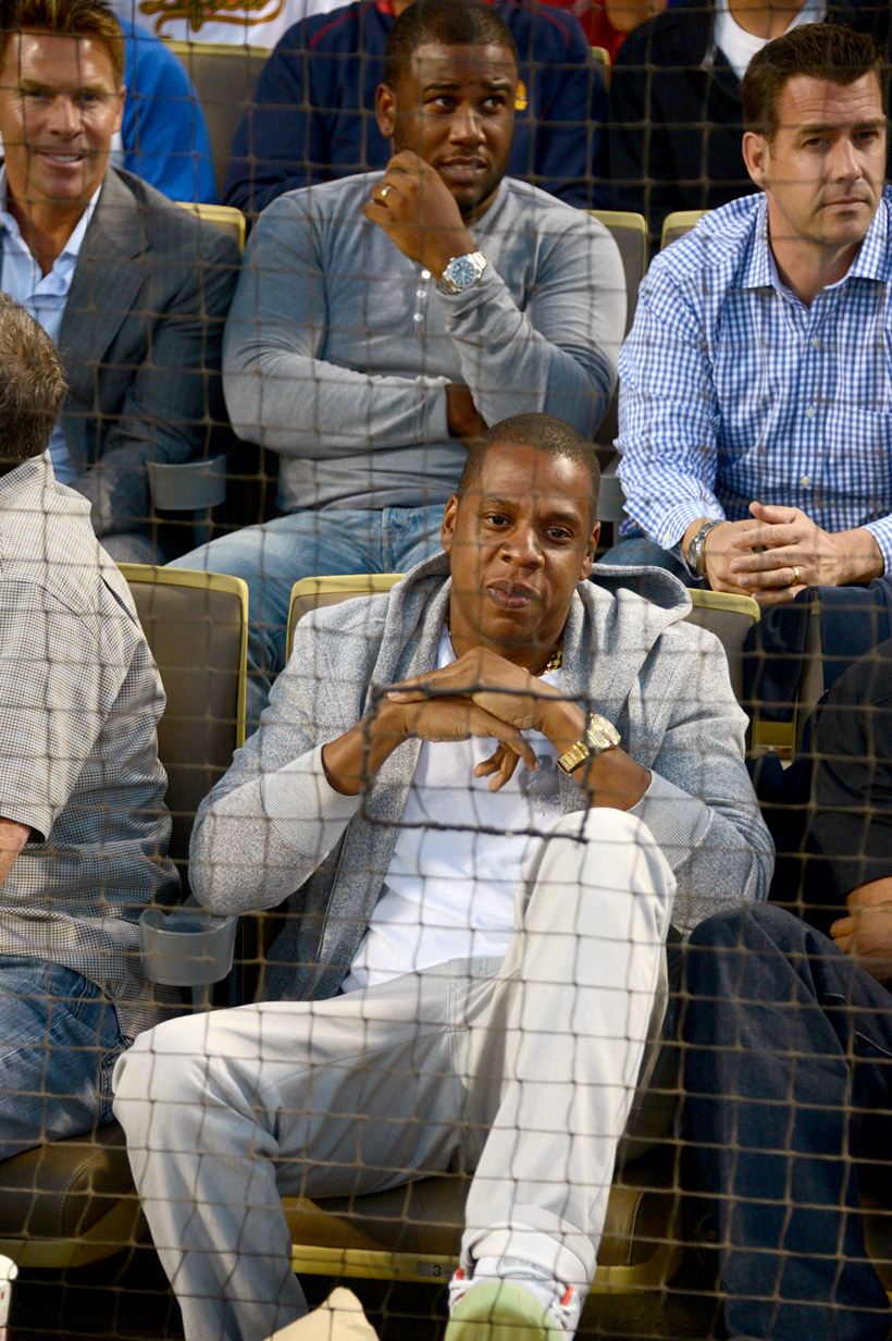 . Rapper Jay Z attends a game between the Los Angeles Dodgers and the New York Yankees on July 30, 2013 at Dodger Stadium in Los Angeles, Caifornia. (Photo by Jon Soohoo/Los Angeles Dodgers via Getty Images)
