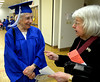 Bob Raines--Montgomery Media<br /> Kathleen McDaniel, 70, Class of 2015 at Lansdale School of Business chats with Marion Keller, Faculty Emeritus, who worked at the school for 60 years. McDaniels' father, Arthur Alderfer, graduated from the school in 1929.