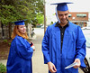 Bob Raines--Montgomery Media<br /> Samantha Wilson calls over her shoulder to Ivan Kushnirsky that she has to go back to pick up the tassel she dropped as they head for the Lansdale School of Business graduation at St John's United Church of Christ, Lansdale Friday, May 1, 2015.