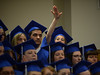 Bob Raines--Montgomery Media<br /> Janine Bailey waves  as she stands with her classmates as a group graduation photo is organized at Lansdale School of Business Friday, May 1, 2015.