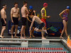 Bob Raines--Montgomery Media<br /> Brian Brown, Dresher, begins the Upper Dublin Triathlon by jumping into the high school pool for a 10-lap swim May 17, 2015.
